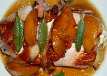 chicken and bacon roll with brie sage and peach 1