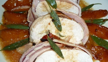 chicken and bacon roll with brie sage and peach 6