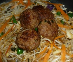 CF45of60 Beef Burger Patties on stir fry7