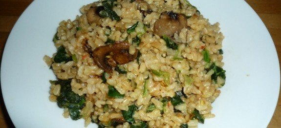 CF48of60 Brown Rice Risotto with mushrooms n spinach3