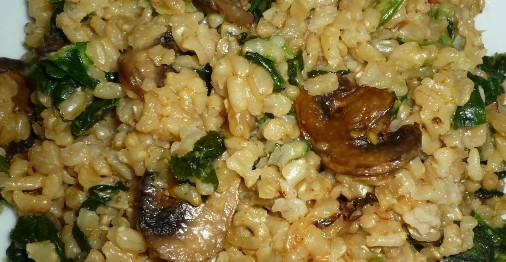 CF48of60 Brown Rice Risotto with mushrooms n spinach7