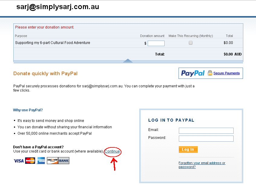 A typical first screen you will see - click the circled link to create an account, or login if you have one already.