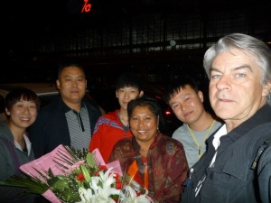 With Fuqiang's family, who came to receive us at the airport in Shijajuang/Herbei.