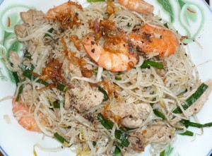 Rice vermicelli noodles and seafood.