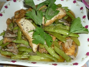 Tofu and green beans.
