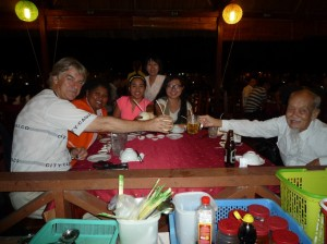 Lucy and her father with Kim and Vy at the reserved table with staff to look after us.