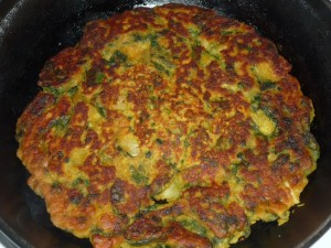Spinach and chickpea pancake