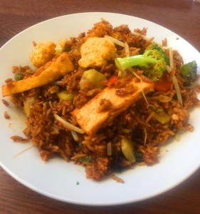 Nasi Goreng/Fried Rice with seasonal vegetables.