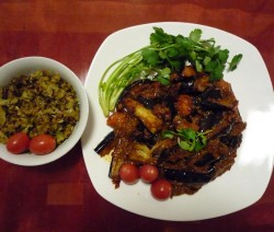 Eggplant with cherry tomatoes and fried bitter gourd